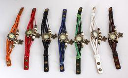 Fashion PU Leather Watch Wristwatches Bracelet Unique RETRO Leather Watch Butterfly Pendant Jewelry 10pcs lot Mix Color