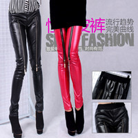 Cheap Brand New women's fashion Punk leggings zippers black red PU leather like polish leggings motorcycle pants