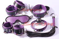 Wholesale BDSM Restraint kit set handcuffs ankle cuffs collar blindfold gag leather whip knout Adult toys Sex Products for couple
