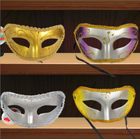 Wholesale Half Face Rose red red purple yellow silver Flat lace Halloween Masquerade Party Masks For men and women