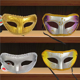 Masquerade Party Masks Half Face Rose red red purple yellow silver Flat lace Halloween Party Masks For men and women Free shipping