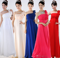 Cheap 2014 NEW bridesmaid wedding chiffon formal long one shoulder ruched evening party dress red white fuchsia royal blue