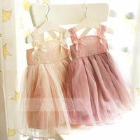 Wholesale Girls Dresses Vintage Girls Dresses Suspender Lace Tiered Veil Ball Gown Dress Adorable Ballet Tutu Dress Party Dress T