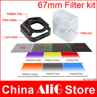 Wholesale IN Camera Lens Filter Kit mm Adapter Ring LENS Hood ND2 Gradient Filters P Bag