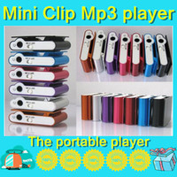 Wholesale DHL Colorful Mini Clip MP3 player support TF SD Card with earphone USB Cable retail box Metal Mp3 LB01