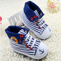 Unisex Summer Cotton 23%off!Striped toddler shoes,blue pirate baby shoes, soft bottom high to help children casual shoes,baby wear..6pairs 12pcs.C