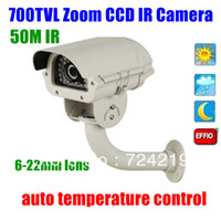 Cheap CCTV security HD Sony Effio-E ccd 700TVL ir long range 6-22mm Zoom video outdoor wateproof camera auto temperature control