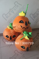 Wholesale POLE STAR MASCOT COSTUMES poly foam head with fan and helmet Halloween pumpkin mascot head fun party pumpkin