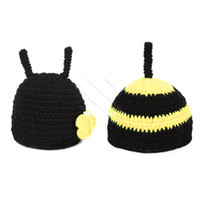 Unisex Summer Crochet Hats Baby Beanie Costume Hats Photo Photography Prop Knit Crochet Beanie Animal Hat Cap Sets Black 18008