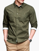 Casual Men Cotton Solid Hunter Green Spread Neck Long Sleeves Pure Cotton Men's Casual Shirt silk shirts for men r21 #u10-1GuN