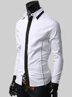 Casual Men Cotton Nice Spread Neck Long Sleeves Solid Color Cotton Men's Casual Shirt silk shirts for men r12 #u10-1BWZ