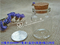 Cheap free shipping 50pcs lot 15ml factory wholesale short glass vials vial Glass Bottles small bottles with corks