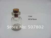 Cheap free shipping 400pcs lot factory wholesale high quality 1.5ml small Glass Bottles vial small bottles with corks