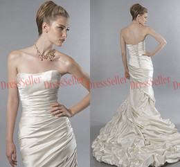 Wholesale New Canada Style Classic Vintage Strapless Sweep Train Ruffle Ivory Satin Mermaid Wedding Dresses
