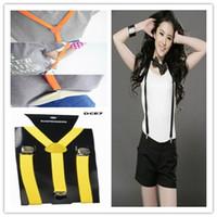 Wholesale 10pcs Gold Adjustable Clip on Unisex Brace Suspender Superior Y Back Style Suspenders Colors Available DCE7