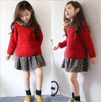 Wholesale Autumn Winter Korean Kids Clothing new style big red Children Sweaters fashion Girls Pullover Sweater coat TX02