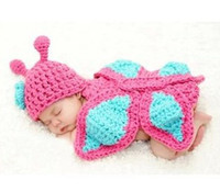 Wholesale Infant Baby Handmade Crochet Butterfly Pink Black Baby Photography Props Garments Children Girls Toddler Hat Jersey Couture B2815