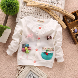 Wholesale 2015 new arrival child clothing spring autumn girl s clothes baby clothing kids baby flower bow Sweaters girl s red pink coat T T