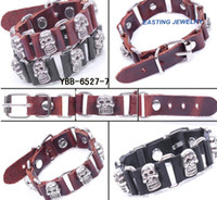 Wholesale Leather Wrap Bracelet with skull Charms per DHL free shipment for order s value above USD