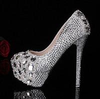 Wholesale new arrival Crystal princess wedding shoes Handmade rhinestone dinner party bridal ultra high heel shoes