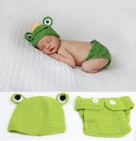 Unisex Summer Crochet Hats Newborn Baby Frog Design Green Crochet Hat + Diaper 2pcs Baby Photography Props Set Toddler Knitted Costume B2817