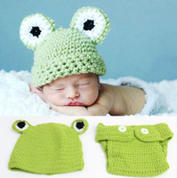 Unisex Summer Crochet Hats 2014 Newborn Baby Frog Design Green Crochet Hat + Diaper 2pcs Baby Photography Props Set Toddler Knitted Costume B2817