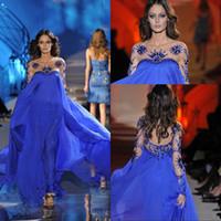 Cheap Empire Waist A Line Long Sleeve Prom Dresses Floor Length Royal Blue Chiffon Zuhair Murad Prom Gowns Formal Evening Dresses Beaded Cryatal