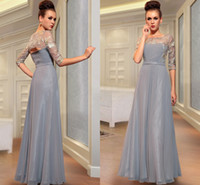 Wholesale New Arrival Beautiful Embroidery Sheer Half Sleeve Grey Chiffon Prom Dress Mother Dress Affordable Evening Party Gowns ZA033