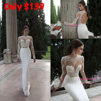 Wholesale 2014 vestido de noiva Sheath Wedding Dresses Sexy Illusion Crew Neck Long Sleeve Applique Lace Sheer Keyhole Back Satin Bridal Gowns BO3910