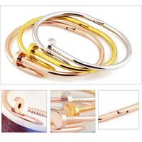 South American men titanium bracelet - Fashion jewelry Men Women Stainless Steel Nail Bangle Bracelet Silver Rose Gold Titanium Love Bracelet Bangles