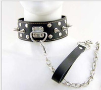 Wholesale 2015 New Design BDSM Restrict Slave Collars Stainless Circle of Nails Leather Neck Collar Bondage Posture Collar sexy toy