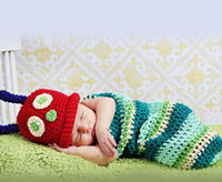 Wholesale EMS Hot Newborn Baby Crochet Animal Beanie Cap Sleeping Bag Baby Photography Props Toddler Costume Set Handmade Boutique sets B2819