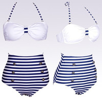 Cheap 2014 retro vintage button high waist blue with white stripes ladies secret swimwear swimsuit 4 sizes #5988