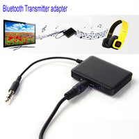 Wholesale Wireless Bluetooth audio rechargeable transmitter adapter with mm audio plug use for wired TV IPOD PC DVD laptop etc
