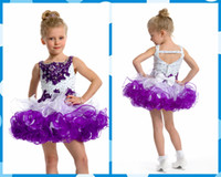 girls knee length pageant dresses - Girl s Pageant Dresses Fall Purple White Organza Ball Gown Flower Girl Gowns Appliques Beads Layers Dress Knee Length Colorful