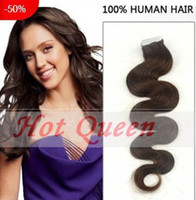 Wholesale Hot Queen Body Wavy Hair Seamless Skin Weft Remy Hair Extensions quot quot quot quot quot Pack g Tape In Human Hair
