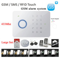 Wholesale 1 large set MHZ Quad band Chuango G5 GSM SMS RFID Touch Alarm System with LED INDICATION Zones Touch Keypad GSM DHL free