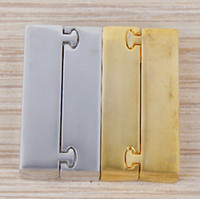 Wholesale 30PCS Smooth Square Rectangle Magnetic Claps Connector Charms Beads for making Leather Bracelet jewelry findings
