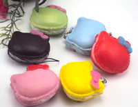 Wholesale New Arrival cm Kawaii Hello Kity Cat Squishies Bag Charm Macaroon Rare Squishy Cake Mobile Phone Straps
