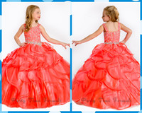 Cheap Girl's Pageant Dresses 2014 Organza Spaghetti Organza Ball Gown Flower Girl Gowns Sequins Beads Layers Dress Floor-Length