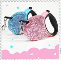 Wholesale 2014 Hot Sale High Quality Stretchable Pet Lead Bling Retractable Dog Leash with Rhinestone for Small or Medium Cat Dog