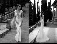 Cheap 2014 Berta Backless Sheer Lace Wedding Dresses Sexy Deep V Neck Back Covered Button Mermaid Court Train Wedding Bridal Gowns Dresses