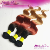 Wholesale 4 Three Tone India Ombre Hair Body Wave Colored Hair Weave Combine With b Human Ombre Hair Extensions