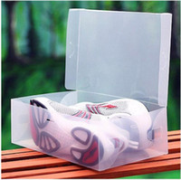 Wholesale FreeShipping Transparent Child Lady Man Stackable Clear Plastic Shoe Storage Boxes Case Organizer Drawer Storage Shoe Boxes