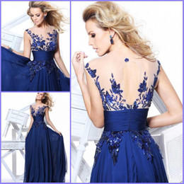 Wholesale 2014 Sexy A Line Long Prom dress Tarik Ediz Sleeved Applique Chiffon Navy blue Evening Party Gowns Prom Dresses