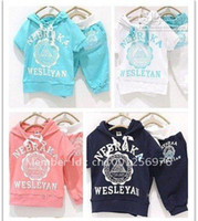 Cheap Wholesale - - Baby suit Sport suits nebraka wesleyan children short sleeve shirt pant clothing set Hoodies pants s
