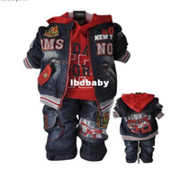 Girl Spring / Autumn Hooded Wholesale - Free shipping New!!children set cool boy's cowboy set coat+hoodie+jeans 3 pcs 2 colors baby clothing and Retail BCS023
