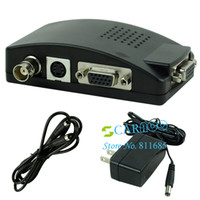 Wholesale New design TV BNC Composite S video VGA Into PC VGA to TV LCD Out Converter Adapter Box color Black