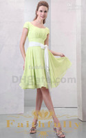 Cheap Purity Lime Green A Line Chiffon Bridesmaid Dress Sash Bateau Knee Length Short Sleeves Bow Sash Party Dresses