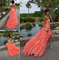 Wholesale Stunning Coral Prom Dresses Crystal Beaded Sweetheart Sleeveless Short Front Long Back Organza Chapel Ruffled Train Skirt Gowns